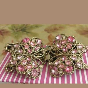 Betsey Johnson double pink butterfly bracelet